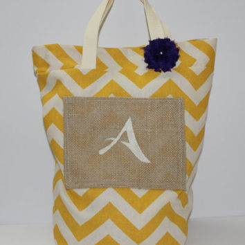 Burlap Tote Bag - Rustic Bag - Yellow Chevron Tote - Personalized Tote - Womens Tote Bag