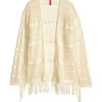 H&M - Pattern-knit Cardigan - Natural white - Ladies