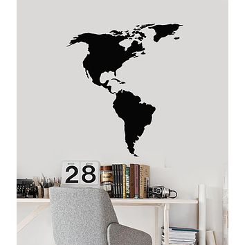 Vinyl Wall Decal North and South America American Continent Map Atlas Geography Stickers Mural (g1834)