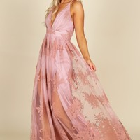 Floral Court Mesh Gown Blush