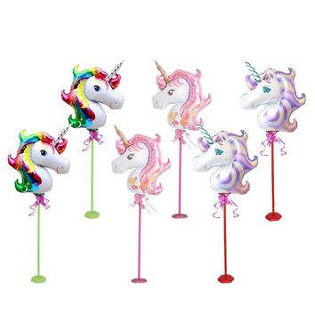 6Set Ballon Stick Unicorn Foil Balloons Birthday Party Decorations Kids Wedding Decorations Unicorn Party Supplies Baby Shower