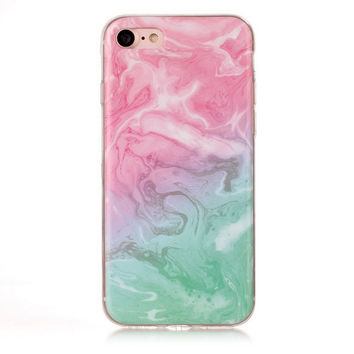 Pink Green Marble Stone Case for iPhone 7 7Plus & iPhone 6s 6 Plus