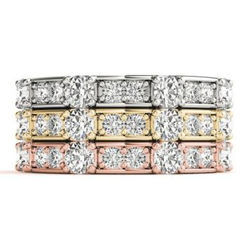 Stackables 1/2 Eternity Tri-Tone Gold Channel & Bead Set 3-Band Set