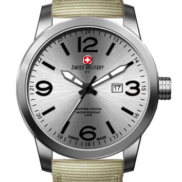 Swiss Military by R 50504 3 A Sniper Men's Watch Beige Nylon Strap Silver Dial