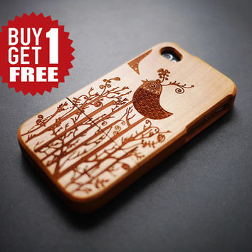 Humming Bird iPhone 4 4s Case Cover - Dark Bamboo iPhone 4 4s Case - iPhone 4 4s Phone Cases - Wooden iPhone 4 4s Case Cover - Handmade
