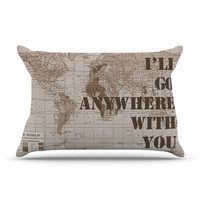 """Catherine Holcombe """"I'll Go Anywhere With You"""" Brown Map Pillow Case"""