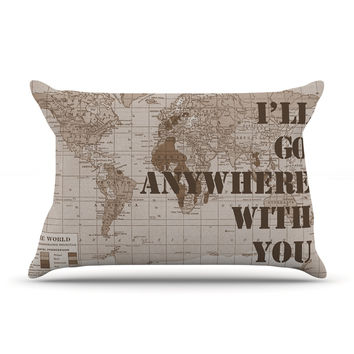 "Catherine Holcombe ""I'll Go Anywhere With You"" Brown Map Pillow Case"