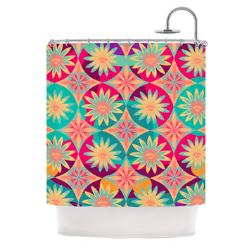 "Nika Martinez ""Happy Flowers"" Floral Abstract Shower Curtain"
