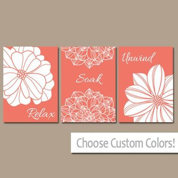 CORAL BATHROOM Wall Art, CANVAS or Prints Bathroom Pictures, Coral Bathroom Decor, Custom Colors, Relax Soak Unwind Quote Set of 3 Pictures