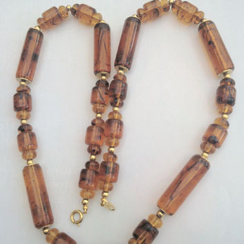 Trifari Necklace Root Beer Lucite Necklace 1950s Jewellery - Ideal gift
