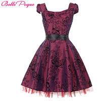 Belle Poque Womens Robe Vintage London Palace Dresses 2017 Pin Up Swing 50s Flower Print Princess Party Plus Size Women Clothing