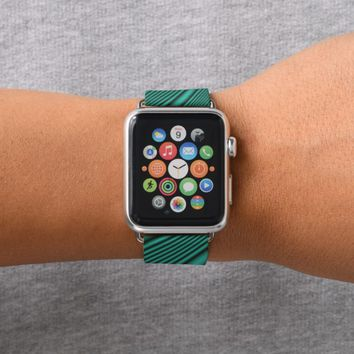 Black and Teal Waves Apple Watch Band
