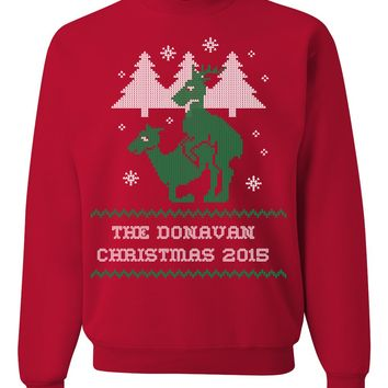 Family Name Personalized Reindeer Fun & Ugly Christmas Sweater For The Holiday Season 2015 - Great Gift For Deer Lovers