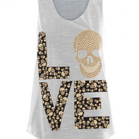 Candyspell — ♥Cream Love Skull Tank Top
