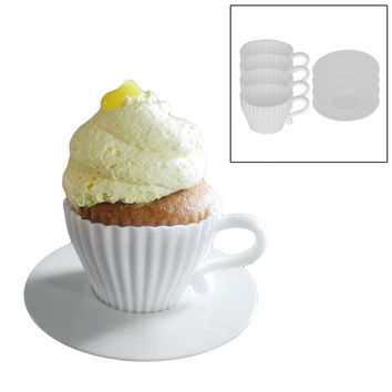 Evelots 8 Piece Afternoon Tea Cupcakes Set - White