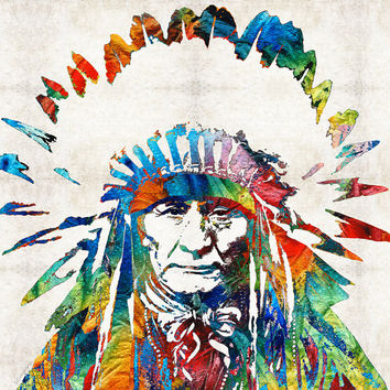Colorful Native American Art PRINT from Painting Primary Colors Chief Red Abstract  CANVAS Ready To Hang Large Artwork Big Indian Headress
