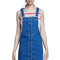 Casualty Button Front Denim Overall Mini Dress