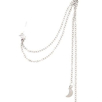 Crescent Moon and Star Stud Earring Chain Ear Cuff Wrap CA42 Silver Tone Charm Fashion Jewelry