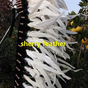 Off white 41inch indian feather headdress indian chief headdress handmade halloween dancewear feather costume