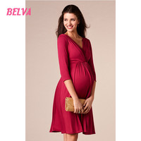 Bamboo Simple Maternity Nursing maternity clothes maternity clothes Knee Dress V Neck pregnant-women-fashion photography DR925