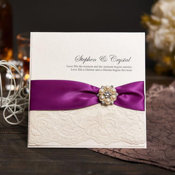 Personalized Wedding Invitations Evening Invites Handmade With Ribbon and Rhinestone Buckle - Lace Vintage & RSVP NK-605