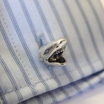 Silver Shark Cufflinks Great White Shark Cuff Links 336