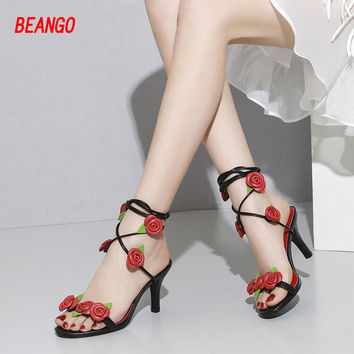 BEANGO 2017 Genuine Leather Women Sandals Rose Flowers Sweet Gladiator Cross-tied Shoes Thin High Heels Pump Black Sandal