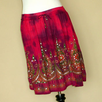 Pink Tie Dye Mini Skirt: Short Indian Gypsy Skirt, Boho Magenta Pink Flowy Bohemain Sequin Skirt, Cover Up