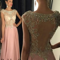 Long Chiffon Pink Prom Dress, Pink Backless Evening Formal Dress