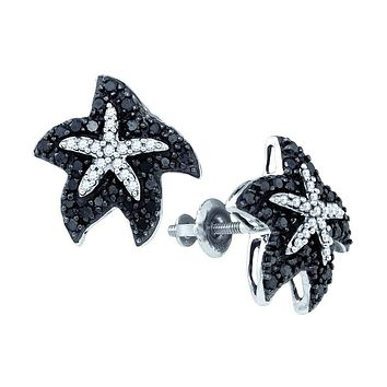 10kt White Gold Womens Round Black Colored Diamond Starfish Stud Earrings 3/8 Cttw