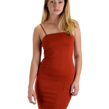Lyss Loo Hug My Figure Bodycon Rust Midi Dress