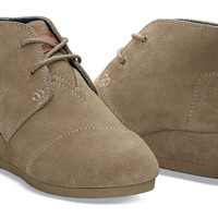 TAUPE SUEDE YOUTH DESERT WEDGES