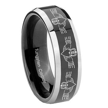 10MM Beveled Two Tone Irish Claddagh Shiny Black Middle Tungsten Men's Ring