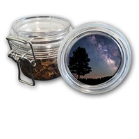 Airtight Stash Jar with Silicone Seal - Milky Way Galaxy - Food-Grade Plastic with Locking Wire Top - Smell Proof Hermes Container
