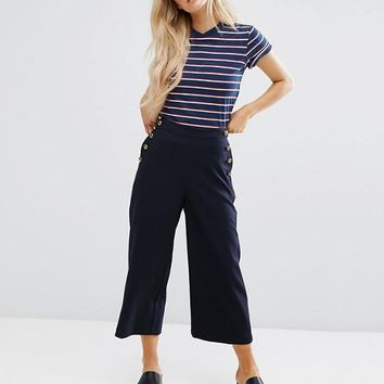 New Look Petite Tailored Button Detail Culottes at asos.com