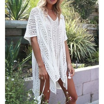 Knitted Pareo Beach New Bathing suit cover ups Hollow Sexy Swimsuit Cover up Beach Tunic Plage Beachwear Cover-Ups