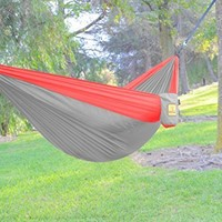 HAMMOCK SALE! The Ultimate Double Hammocks- Quality Camp Gear For Backpacking Camping Survival & Travel- Portable Lightweight Parachute Nylon, Ropes and Carabiners Included! (Dark Grey & Crimson Red)