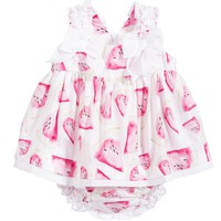 Girls Pink Watermelon Dress with Bloomers