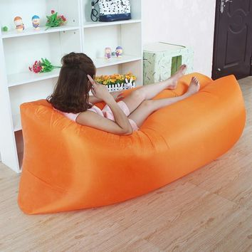 Inflatable Airbed Camping Sofa Outdoor Pocket Folding Airbed Sleeping Bag Camping Mat Travel Pinic Air Mattress Beach Airbed