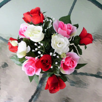 Silk Floral Arrangement, Valentine's Day Roses, Roses, Clay Pot (V6)
