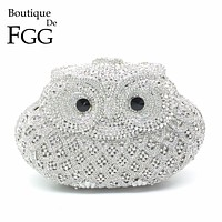 Women Wedding Bridal Crystal Owl Clutch Bag Diamond Dinner Banquet Evening Purse Silver Metal Clutches Handbag