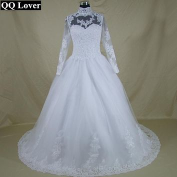 QQ Lover High Neck IIIusion Back Long Sleeve Wedding Dress Lace Ball Gown Wedding Gowns Plus Size Custom-made Vestido De Noiva