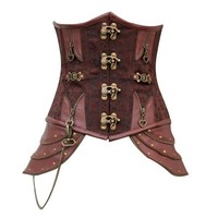 Stunning Victorian Steampunk Brown Satin Brocade Underbust Steel-boned Corset