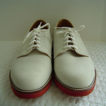 Walk-Over Mens Vintage 1980s Classic White Suede Buck Oxford Shoes Size 10 1/2 D