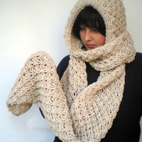 Linen Star hooded Scarf Hand Knitted  mixed Alpaca Wool Hood Woman Hooded Scarf Fall Winter NEW