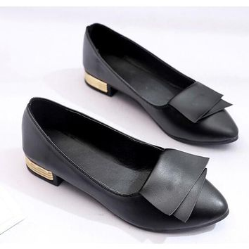 Pointed Toe Shallow Mouth Bowknot metal flats