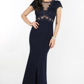 Navy Sheer Embellished Cap Sleeve Dress