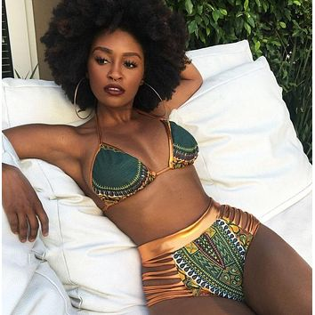 2019 New African Print Two-Pieces Bath Suits Bikini Set Sexy Geometric Swimwear Swimsuit Gold High Waist Swimming Suit