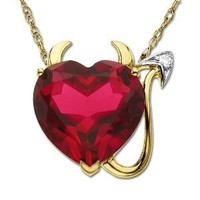 14k Yellow Gold Created Ruby Heart Devil Pendant Necklace with Diamond Accent, 18""
