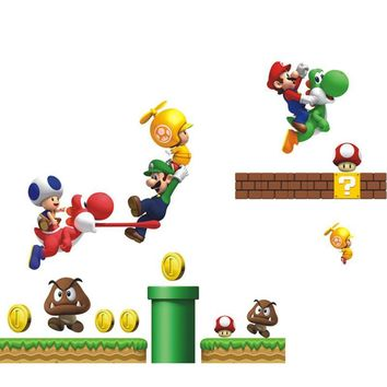 """Super Mario party nes switch Creative Home Decor 3D Wall Stickers Cartoon Game Star """""""" Pattern For Baby Room Mural Art Decals Wallpaper 45*60 CM AT_80_8"""